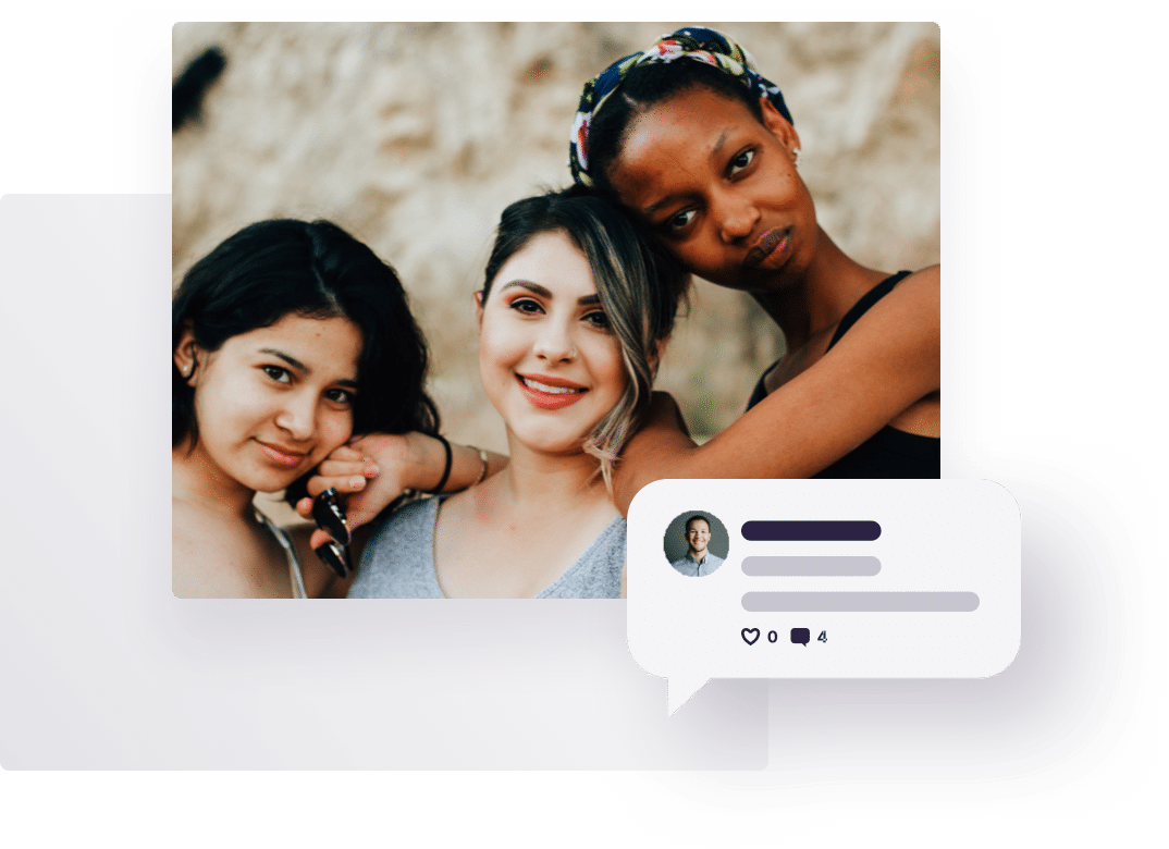 Overlay of images, including a group of diverse women and a text chat speech bubble, representing Further's online qual research services.