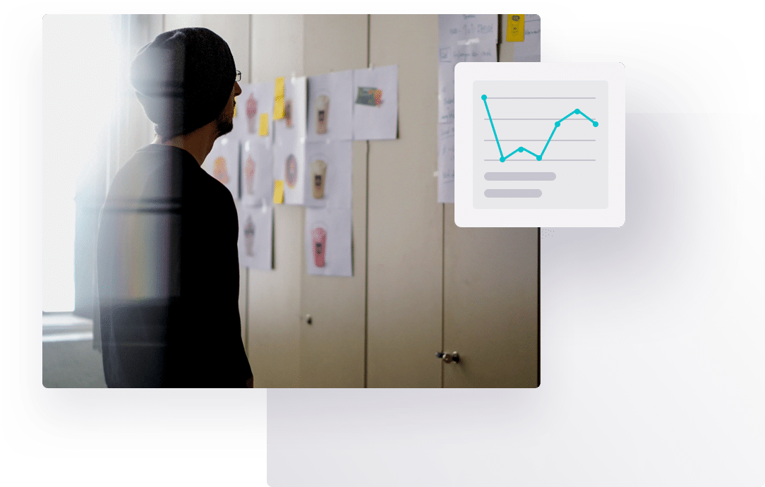 Overlay of images, including a man looking at charts pinned to a wall and a line graph, representing Further's online qual research services.