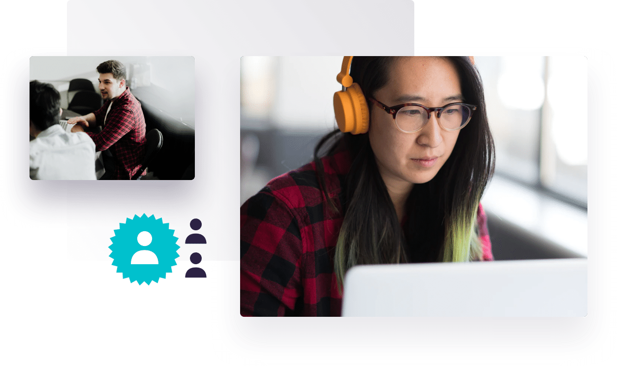 Overlay of images, including a woman wearing headphones and looking at a laptop and two colleagues in a meeting, representing Further's online qual research services.