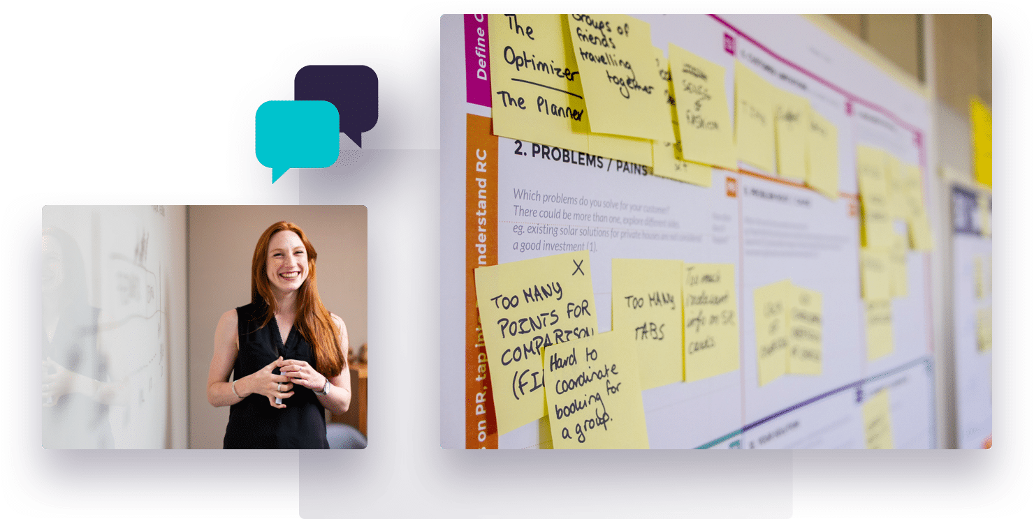 Overlay of images, including a smiling businesswoman and a board of post-it notes around product issues and solutions, representing Further's market research services.