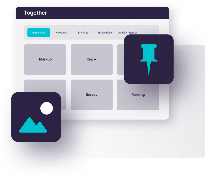 Graphic design to represent the Together™ online qualitative market research platform, including a drawing pin and a mountain and moon.