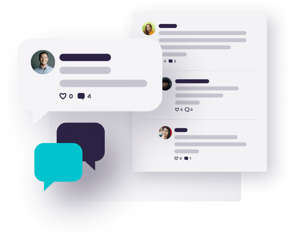 Speech bubble and chat graphics to represent the Together™ online qualitative market research platform.