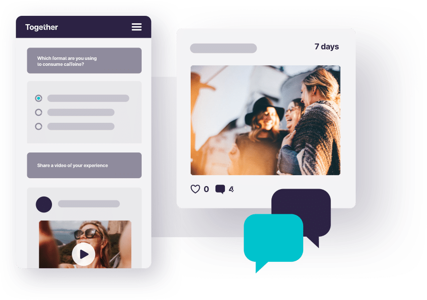 Overlay of images, including a group of people laughing and speech bubble graphics to represent the Together™ online qualitative market research platform.