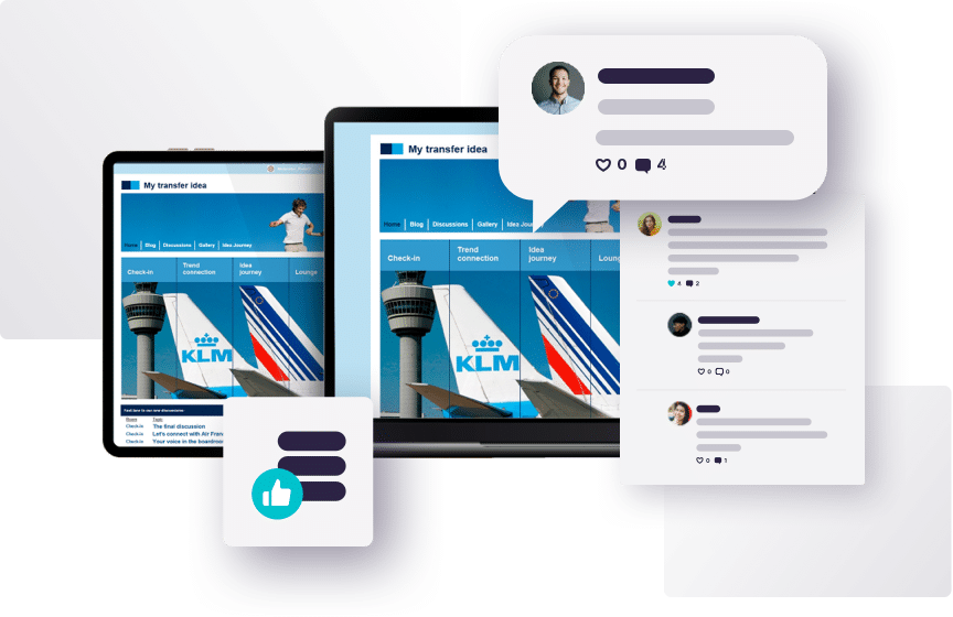 Tablet screens displaying KLM airline photos, surrounded by speech bubble, survey and comment thread graphics to represent the Together™ online qualitative market research platform.